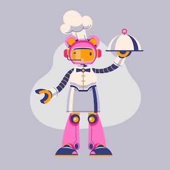 Ilustração de garçom robô