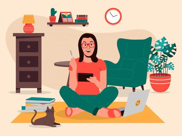 Ilustração de garota aprendendo em casa