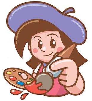 Ilustração de garota do artista dos desenhos animados