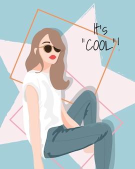 Ilustração de garota legal de moda