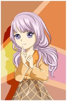 Ilustração de garota linda com longos cabelos roxos