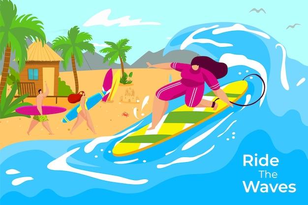 Ilustração de garota surfando nas férias de verão