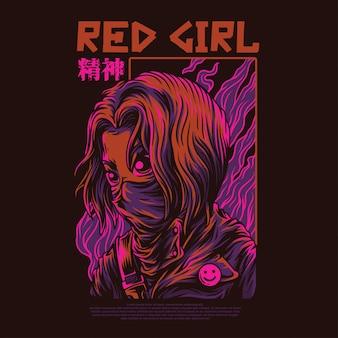 Ilustração de garota vermelha