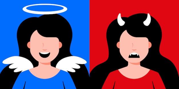 Ilustração de garotas de diabo e anjo