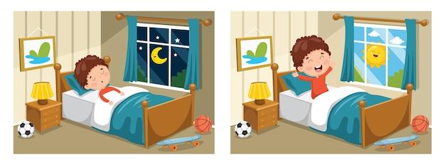 Ilustração de garoto dormindo