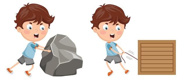Ilustração de garoto empurrando e puxando
