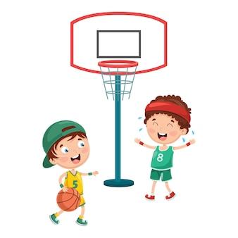 Ilustração de garoto jogando basquete