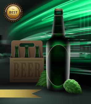 Ilustração de garrafa de cerveja verde e lúpulo com embalagem e fita dourada com recompensa na luz de fundo da cidade