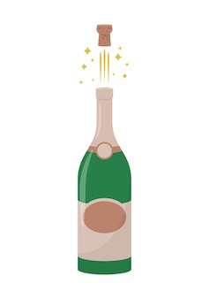 Ilustração de garrafa de champanhe isolada no fundo branco