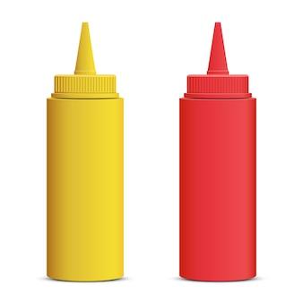 Ilustração de garrafa de ketchup e mostarda em fundo branco