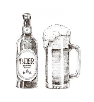 Ilustração de garrafa de vidro e copo de cerveja
