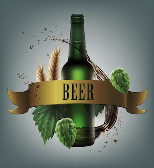 Ilustração de garrafa verde com lúpulo fresco de trigo e respingos atrás da fita dourada Vetor Premium