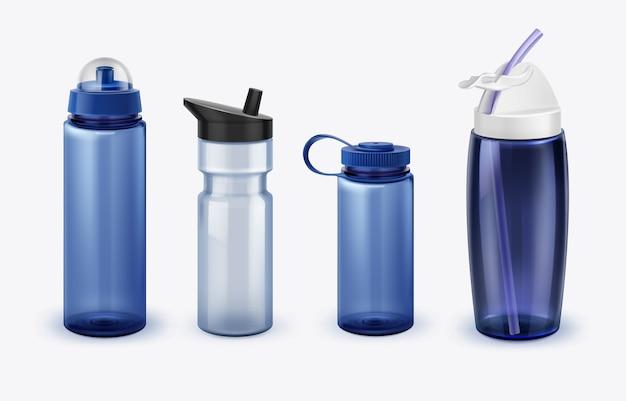 Ilustração de garrafas de água esportivas com várias formas e tamanhos