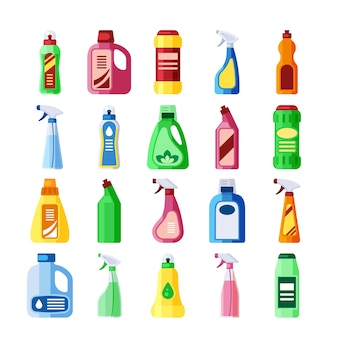 Ilustração de garrafas plásticas com detergente