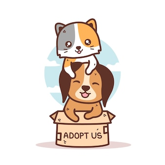 Ilustração de gatinho fofo e cachorrinho na caixa