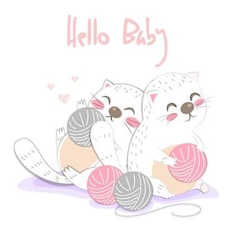 Ilustração de gatinhos fofos