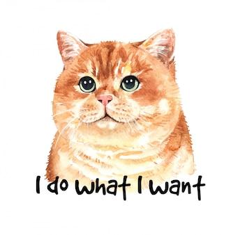Ilustração de gato aquarela bonito. impressão de camiseta.