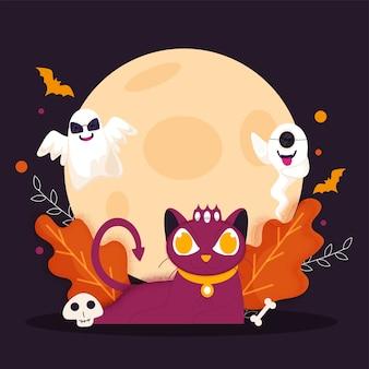Ilustração de gato assustador com fantasmas de desenho animado, crânio, osso, morcegos voadores, folhas e efeito de ruído em fundo roxo de lua cheia para feliz dia das bruxas.