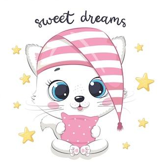 Ilustração de gato bebê fofo.