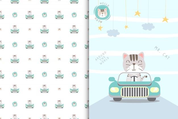 Ilustração de gato bonito dirigindo um carro e sem costura padrão