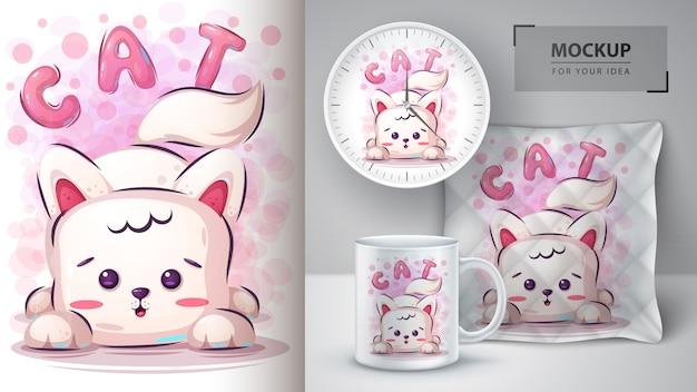 Ilustração de gato bonito e merchandising
