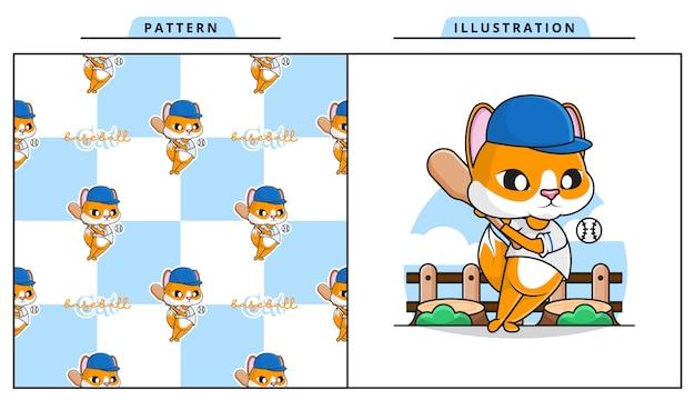 Ilustração de gato bonito jogando beisebol com padrão decorativo sem costura