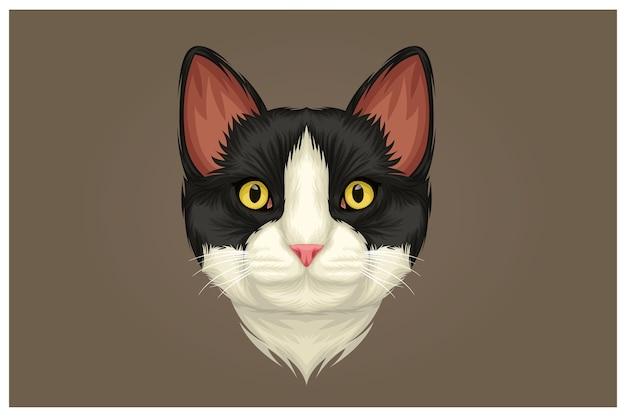Ilustração de gato branco de nariz preto