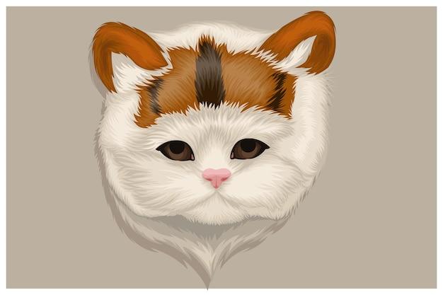 Ilustração de gato branco e marrom desenho à mão