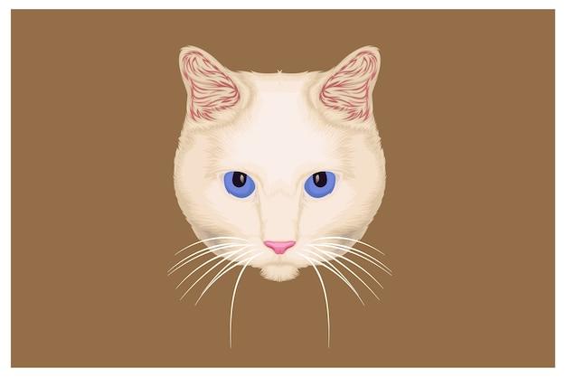 Ilustração de gato branco fofo desenhado à mão
