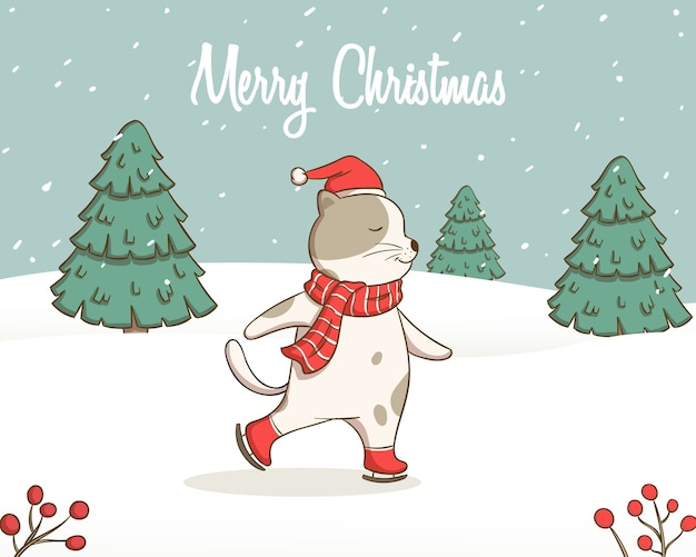 Ilustração de gato branco patinando engraçado com lenço vermelho sobre fundo de pinheiro