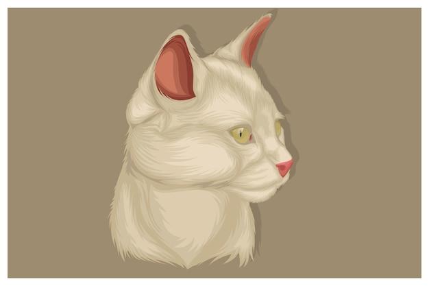 Ilustração de gato branco vendo algo significativo surgindo na frente, apenas a parte da cabeça Vetor Premium
