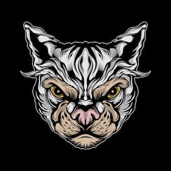 Ilustração de gato bravo