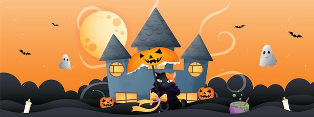 Ilustração de gato com tema de halloween