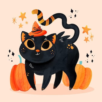 Ilustração de gato de halloween em aquarela