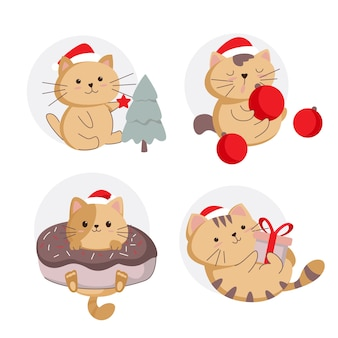 Ilustração de gato de natal