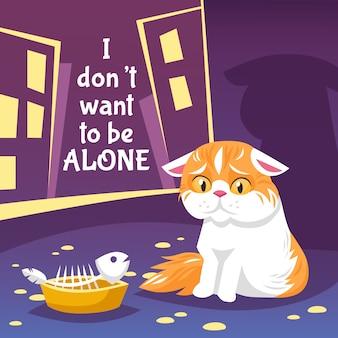 Ilustração de gato desabrigado