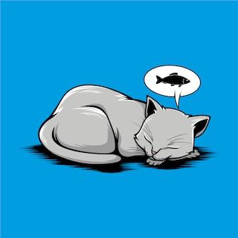 Ilustração de gato dormir