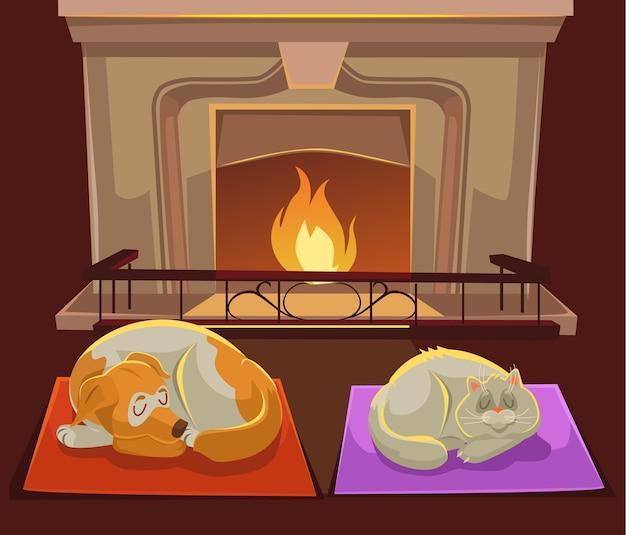 Ilustração de gato e cachorro perto da lareira