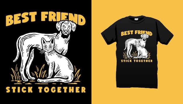 Ilustração de gato e cachorro
