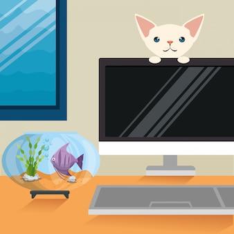 Ilustração de gato e peixe em cena de aquário