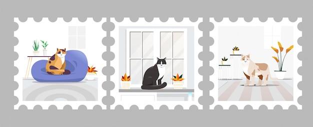 Ilustração de gato em selo postal