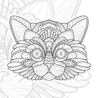 Ilustração de gato estilizado zentangle animal lineart