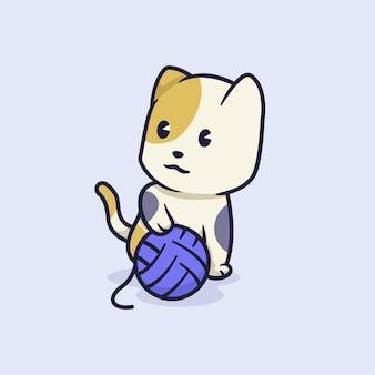 Ilustração de gato fofo com bola de barbante