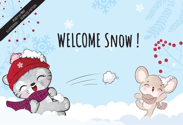 Ilustração de gato fofo com ratinho feliz na neve - ilustração de fundo