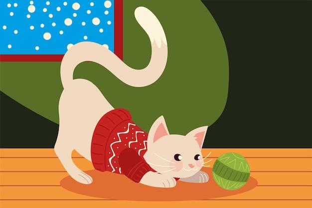 Ilustração de gato fofo de natal com suéter na casa