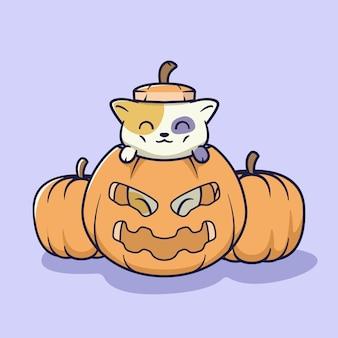 Ilustração de gato fofo dentro de abóbora de halloween