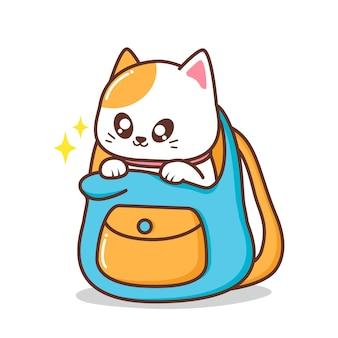 Ilustração de gato fofo dentro de bolsa
