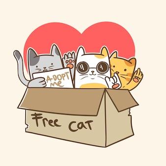 Ilustração de gato fofo e grátis