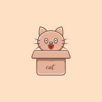 Ilustração de gato fofo em papelão