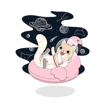 Ilustração de gato fofo em traje espacial